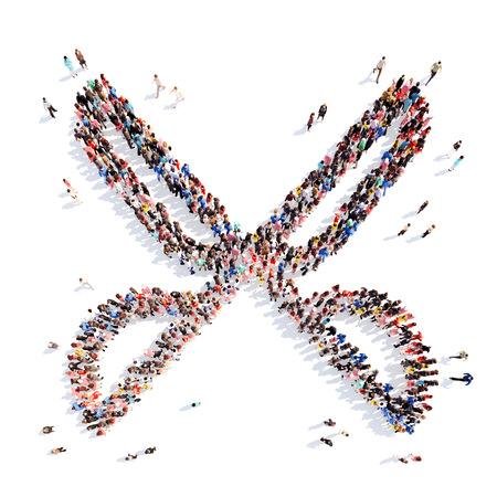 A large group of people in the shape of scissors. Isolated, white background. photo