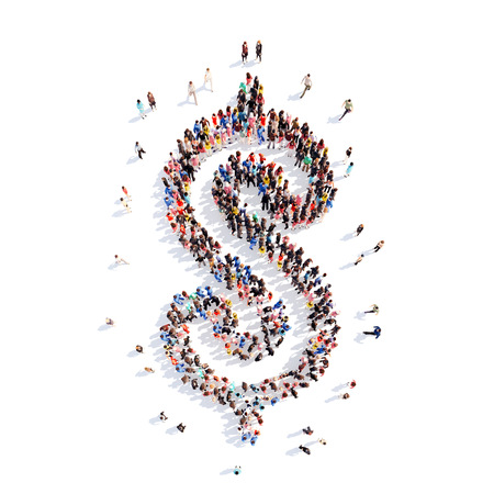 A large group of people in the shape of sign Dolar. Isolated, white background. photo