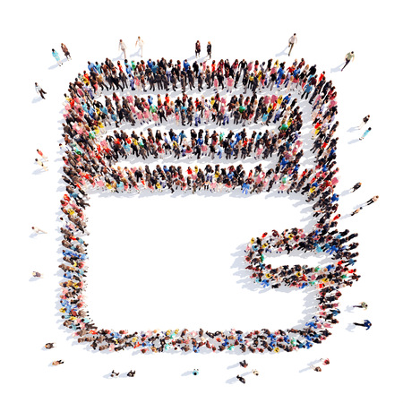 bussines people: A large group of people in the shape of purse. Isolated, white background.