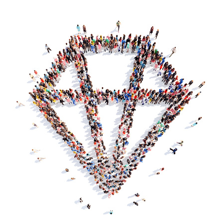 A large group of people in the shape of briliant. Isolated, white background. photo