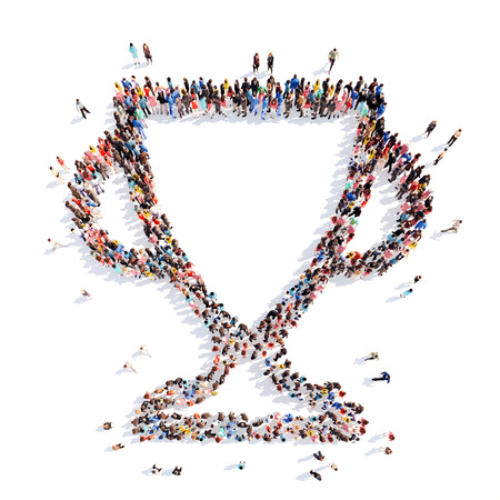 A large group of people in the shape of a cup. Isolated, white background.