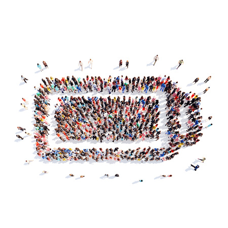 A large group of people in the shape of battery charge. Isolated, white background. Stok Fotoğraf