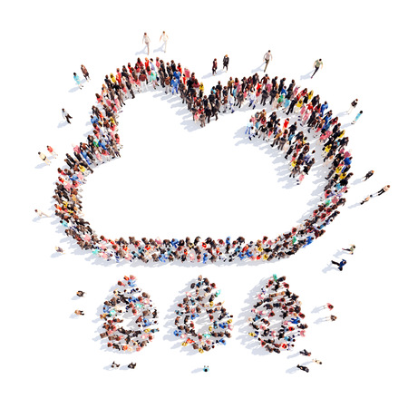 family discussion: A large group of people in the shape of clouds. Isolated on white background Stock Photo