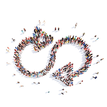 Large group of people in the form of arrows, repeat. Isolated, white background. photo