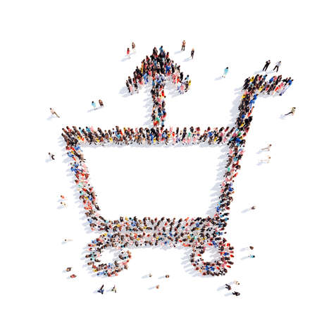 A large group of people in the shape of cart. Isolated, white background. photo