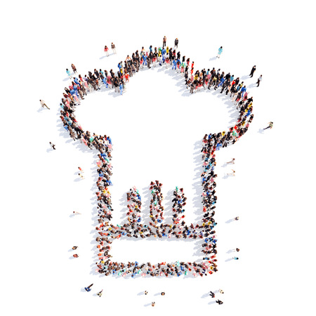toque blanche: A large group of people in the shape of a chef hat. Isolated, white background.
