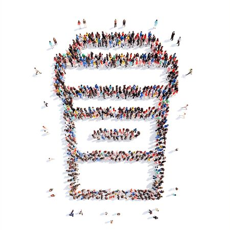 women s day: A large group of people in the shape of coffee cup. Isolated, white background.