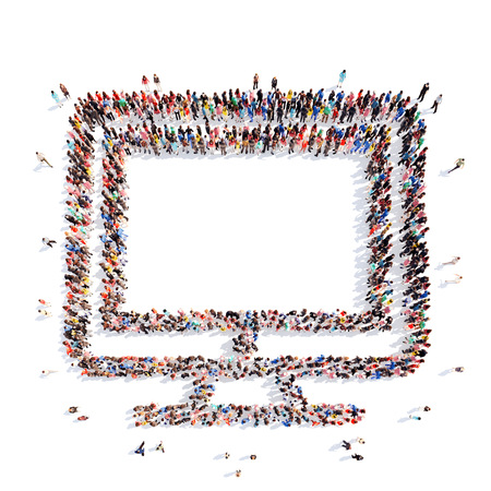 A large group of people in the shape of a monitor. Isolated, white background. photo