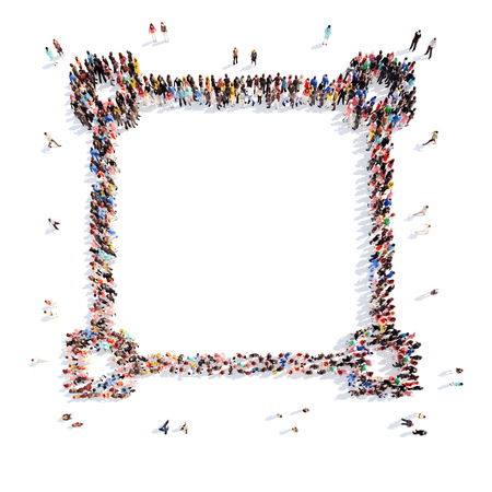 demonstrate: A large group of people in the shape of the frame. Isolated, white background.