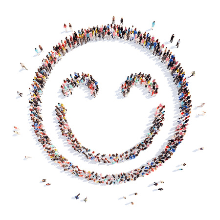 A large group of people in the shape of a smile. Isolated, white background.