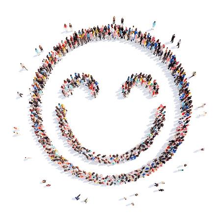 Een grote groep mensen in de vorm van een glimlach. Geïsoleerd, witte achtergrond. Stockfoto