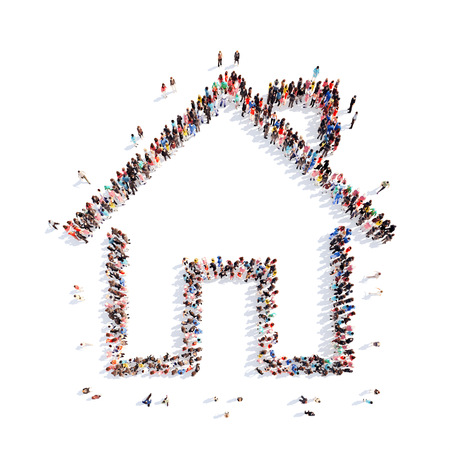 A large group of people in the shape of a house. Isolated, white background.