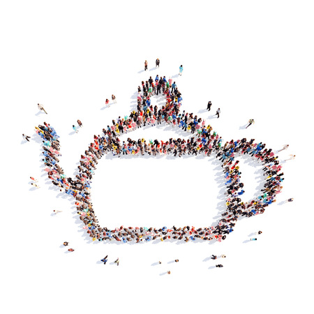 enriched: A large group of people in the shape of a teapot. Isolated, white background.