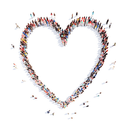 large: A large group of people in the shape of a heart. Isolated, white background.
