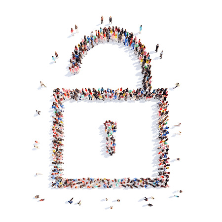secret society: A large group of people in the shape of lock. Isolated, white background.