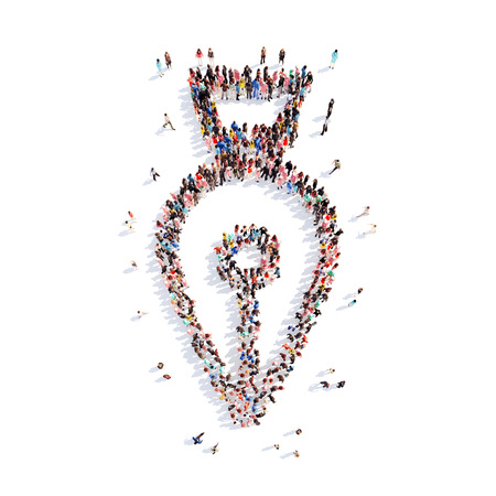 uniformity: A large group of people in the shape of a pen. Isolated, white background. Stock Photo