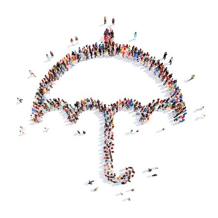 A large group of people in the shape of an umbrella. Isolated, white background. photo