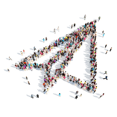 fuselage: A large group of people in the shape of paper airplane. Isolated, white background.