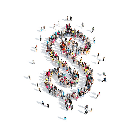 A large group of people in the shape of sign Dolar. Isolated, white background.