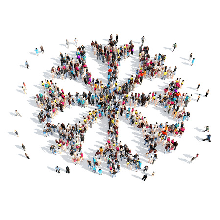 A large group of people in the shape of snowflakes. Isolated, white background. photo