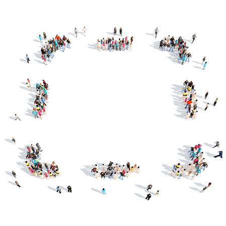 gather: A large group of people in the shape of the frame. Isolated, white background.