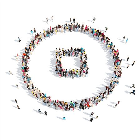 A large group of people in the shape of a button stop. Isolated, white background. photo