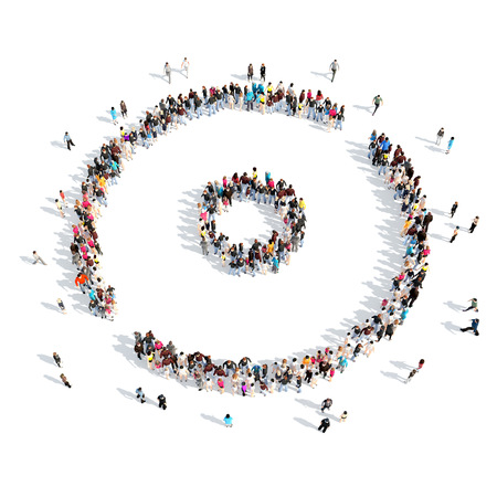 A large group of people in the shape of a media button. Isolated, white background. photo
