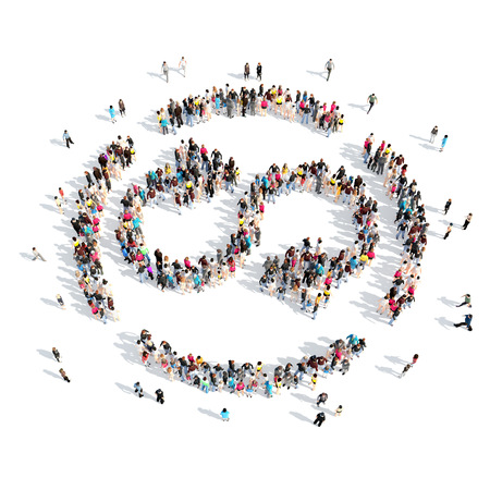 A large group of people in the shape of a button rotate. Isolated, white background. photo