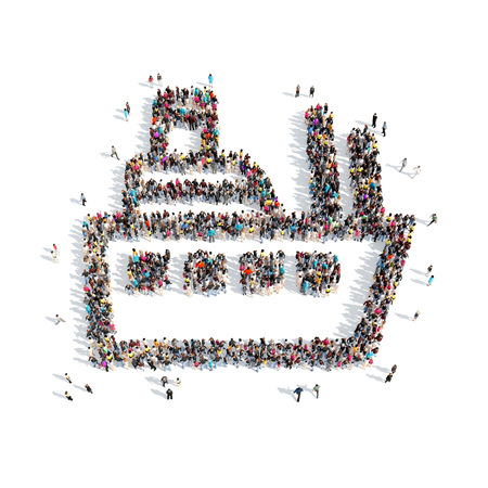 A large group of people in the shape of a ship. Isolated, white background. photo