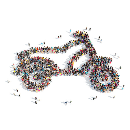 A large group of people in the shape of a motorcycle. Isolated, white background. photo