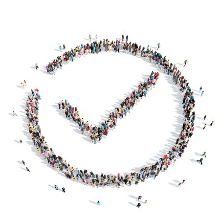 unbuttoned: A large group of people in the shape of a check mark. Isolated, white background. Stock Photo