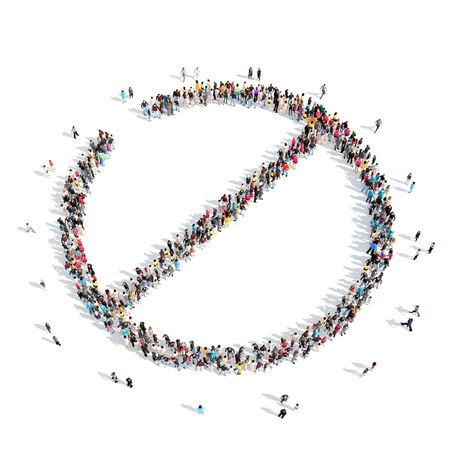 A large group of people in the shape of a stop sign. Isolated, white background. photo