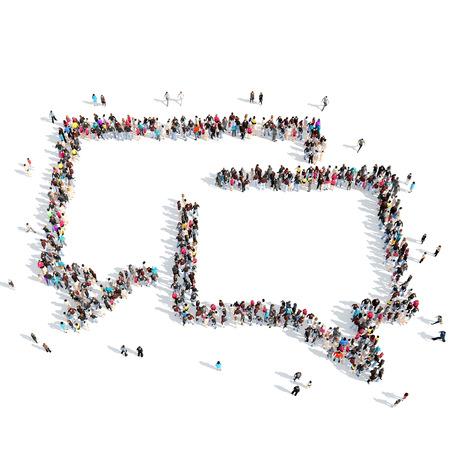 白い背景の上のチャット泡の形をした人々 の大規模なグループ