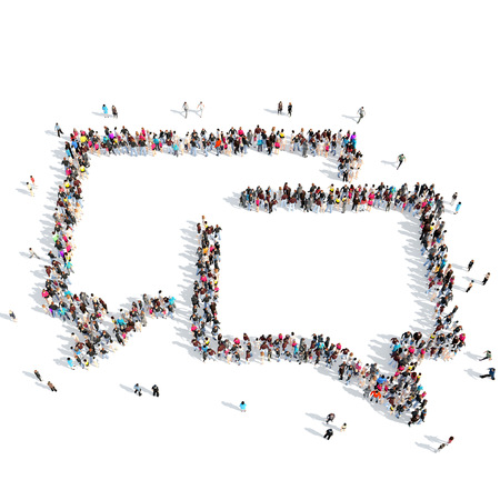 collection of people: Large group of people in the shape of a chat bubble on White background