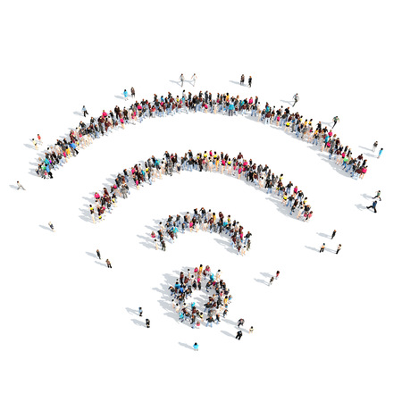 wi fi: A large group of people in the shape of wi fi. Isolated, white background. Stock Photo