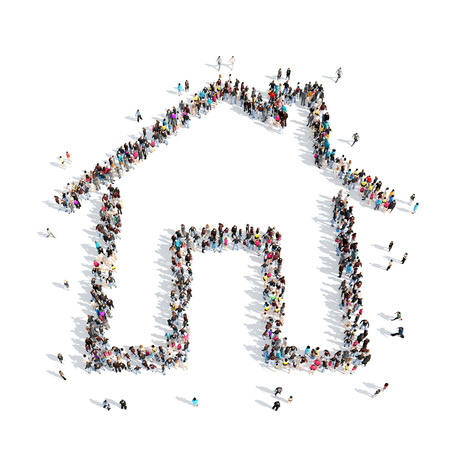 unrecognizable person: A large group of people in the shape of a house. Isolated, white background.