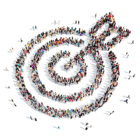 huge: A large group of people in the shape of a target with an arrow. Isolated, white background.