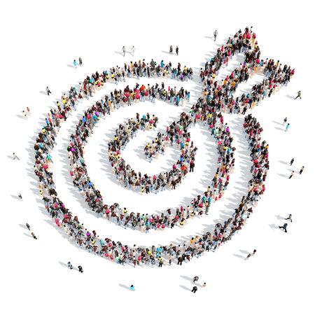 Un gran grupo de personas en la forma de un blanco con una flecha. Aislado, fondo blanco. Foto de archivo