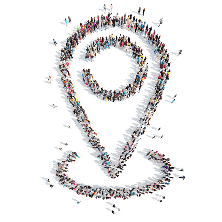 excursions: Large group of people in the shape of a map pointer.Isolated, white background. Stock Photo