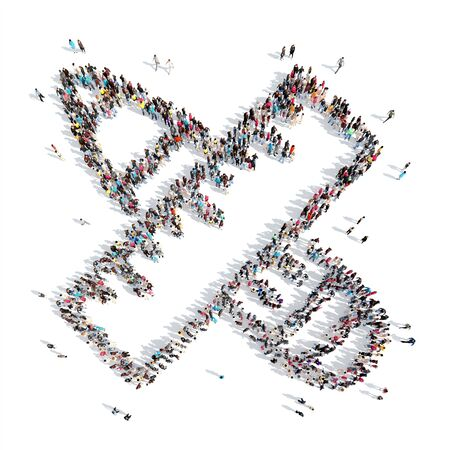 uniformity: A large group of people in the shape of a stick. Isolated, white background. Stock Photo