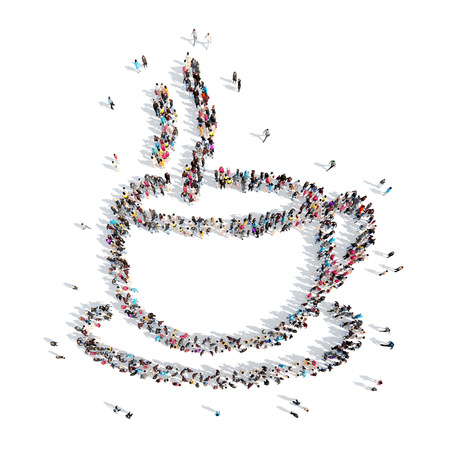 valentine          s day candy: A large group of people in the shape of coffee cup. Isolated, white background.
