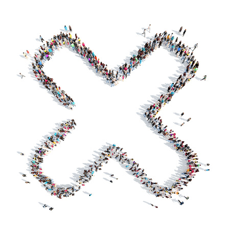 endorsing: A large group of people in the shape of a check mark. Isolated, white background. Stock Photo