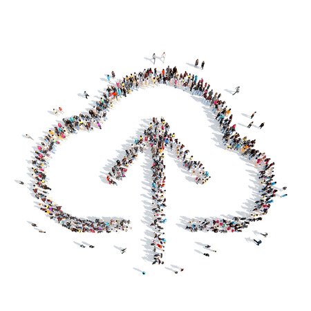 A large group of people in the shape of clouds. Isolated, white background. photo