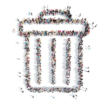 keep clean: A large group of people in the shape of the trash. Isolated, white background. Stock Photo