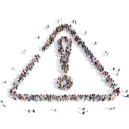 A large group of people in the shape of an exclamation mark. Isolated, white background. photo