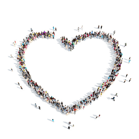 A large group of people in the shape of a heart. Isolated, white background. photo