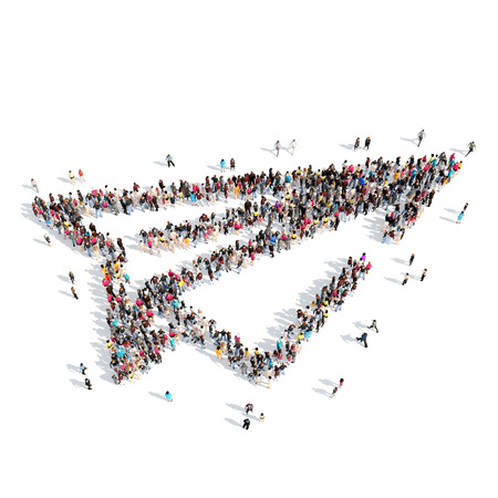 made to order: A large group of people in the shape of paper airplane. Isolated, white background.