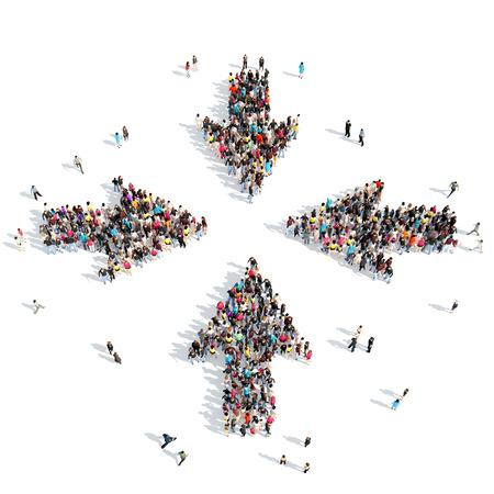grupos de personas: Gran grupo de personas en forma de flechas, los negocios y la tecnología. Aislado, fondo blanco.
