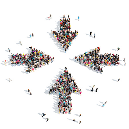 people standing: Large group of people in the form of arrows, business, and technology. Isolated, white background.
