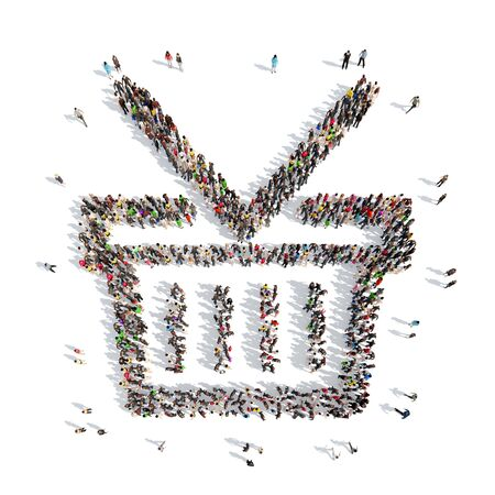 A large group of people in the shape of  baskets. Isolated, white background. photo
